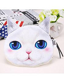 Cartoon White Cat Pattern Simple Design Flannel Wallet