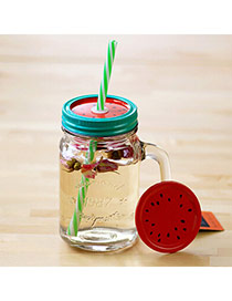 Boutique Red 550ml Watermelon Pattern Cover Cups Design With A Straw Glass Household goods
