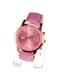 Fashion Pink Roman Numerals Pattern Simple Design Alloy Ladies Watches