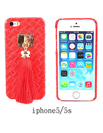 Imitation Leather Red Square Pattern Tassel Case Design