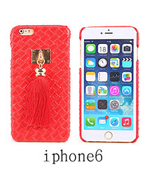 Imitation Leather Red Square Pattern Tassel Case Design Resin Iphone 6