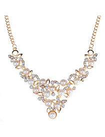 Fashion Gold Color Pearl Decorated Simple Design Alloy Korean Necklaces