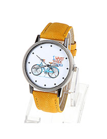 High-quality Yellow Bicycle Pattern Simple Design Alloy Ladies Watches