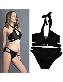 popular black Pure Color Crossover Design Polyester Sexy Bikini