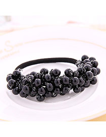 High-quality Black Beads Decorated Simple Design  Rubber Band Hair band hair hoop