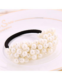 High-quality White Beads Decorated Simple Design Rubber Band Hair band hair hoop