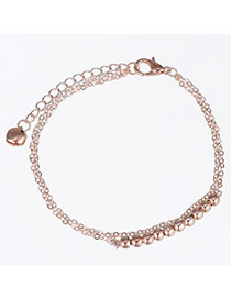 High-quality Rose Gold Beads Decorated Double Layer Design  Alloy Fashion Anklets