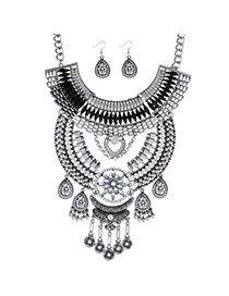 Gorgeous Silver Color Diamond Decorated Flower Tassel Design Alloy Jewelry Sets