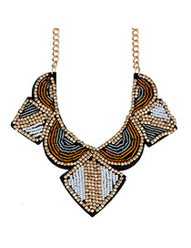 Upscale Multicolor Beads Decorated Geometrical Shape Design Alloy Fashion Necklaces