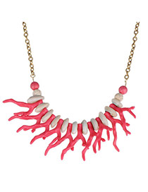 Sweet Plum Red Antler Shape Decorated Simple Design Alloy Korean Necklaces