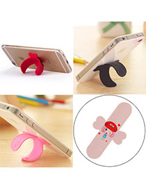 Creative Pink Lovely Pattern Girl U-shape Simple Design Alloy Phone holder