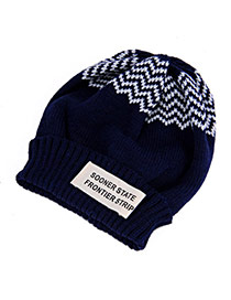 Casual Navy Blue Letter Sooner State Decorated Simple Design Cashmere Knitting Wool Hats