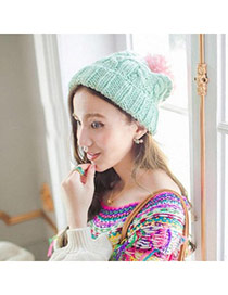 Fashion Green Ball Decorated Twist Simple Design Wool Knitting Wool Hats