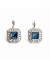 Charm Sapphire Blue Diamond Decorated Square Shape Design Alloy