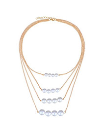 Charming White&gold Color Pearl Decorated Multilayer Design