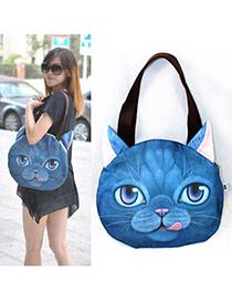 Personality Dark Blue Cat Pattern Simple Design