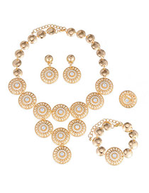 Charming Gold Color Round Shape Decorated Hollow Out Design