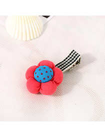 Fashion Watermelon Red&blue Dot Pattern Decorated Flower Design Fabric Hair clip hair claw