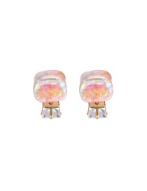 Sweet Light Pink Diamond Decorated Square Shape Design Alloy Stud Earrings