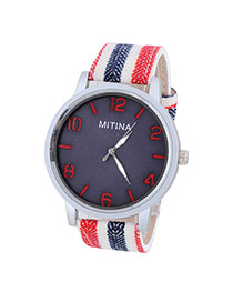 Concise Red&navy Blue Stripe Pattern Decorated Simple Design  Alloy Men's Watches