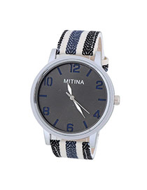 Concise Black&navy Blue Stripe Pattern Decorated Simple Design  Alloy Men's Watches