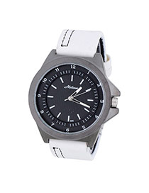 Bardian White Double Dial Decorated Simple Design  Alloy Men's Watches