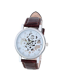Bardian Coffee&silver Color Roman Numerals Decorated Hollow Out Design Alloy Men's Watches