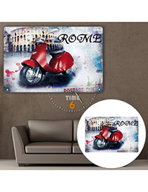 Nostalgic Multicolor Motorcycle Pattern Decorated Simple Design  Iron Household goods