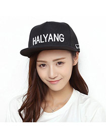 Fashion Black Embroidered Letters Halyang Simple Design