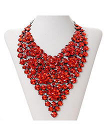 Luxury Red Wintersweet Decorated V Shape Design