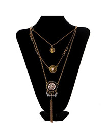 Retro Pink Coins Pendant Decorated Multilayer Design