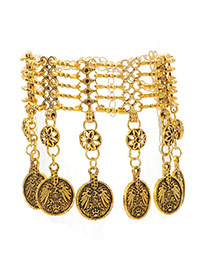 Retro Bronze Coins Decorated Multilayer Design  Alloy Fashion Anklets