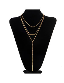 Fashion Gold Color Metal Decorated Multilayer Design
