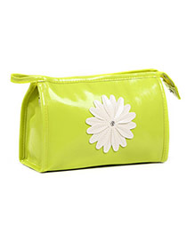 Fashion Green Sunflower Decorated Pure Color Design  Pu Home Storage Bags