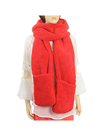 Fashion Red Pure Color Simple Design  Plush knitting Wool Scaves