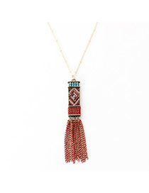 Bohemian Multicolor Beads Decorated Tassel Design Alloy Chains