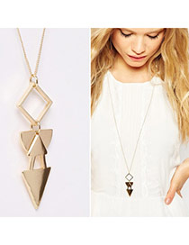 Personality Gold Color Trilateral Pendant Decorated Simple Design Alloy