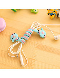 Sweet Blue Elephant Pattern Decorated Flexible Design  Silicon Cord Fixer