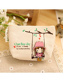 Sweet Beige Cartoon Girl Pattern Decorated Simple Design  Canvas Wallet