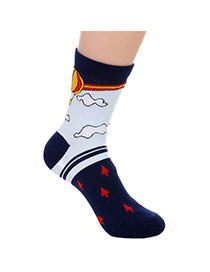 Lovely Navy Blue Thick Fire Balloon Pattern Decorated Simple Design  Cotton Fashion Socks