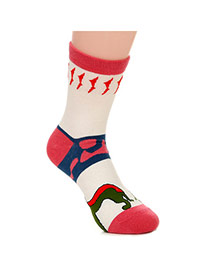 Lovely Watermelon Red Thick Cat Pattern Decorated Simple Design  Cotton Fashion Socks