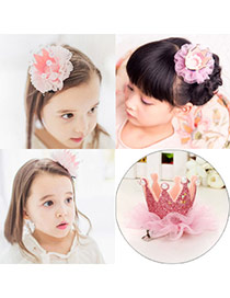 Sweet Pink Pearl Decorated Crown Shape Design  Fabric Kids Accessories