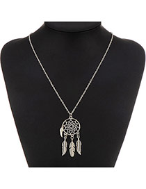 Fashion Silver Color Leaf Decorated Round Shape Pendant Design