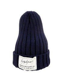 Casual Navy Blue Letters Decorated Pure Color Design Wool Knitting Wool Hats