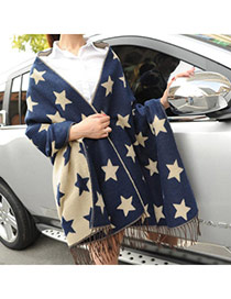 Fashion Blue Star Pattern Tassel Design  Woolen Yarn knitting Wool Scaves