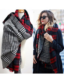Fashion Navy+gray Stripe Pattern Decorated Scarf