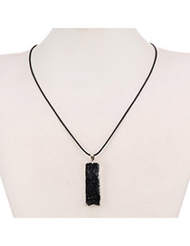 Personality Black Rectangle Stone Pendant Decorated Simpledesign