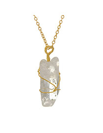 Personality Transparent White Irregular Stone Pendant Decorated Simple Design Stone Chains
