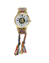 Retro Green+red Feather Pattern Decorated Weave Tassel Design  Alloy Ladies Watches