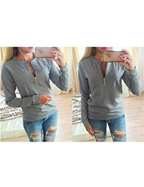 Casual Gray Long Sleeve O-neck Front Zipper Design  Polyester %28pet%29 Coat-Jacket